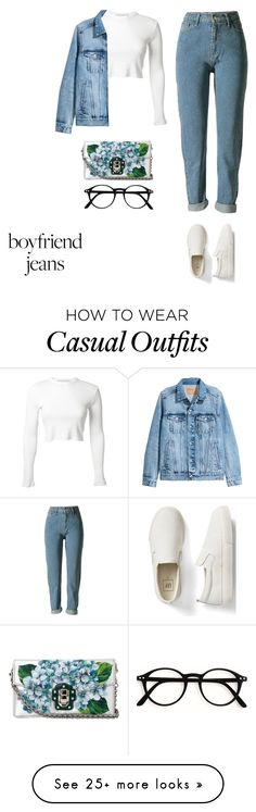 """casual"" by xoxotiffvni on Polyvore featuring Rosetta Getty, Gap, Dolce&Gabbana and boyfriendjeans"