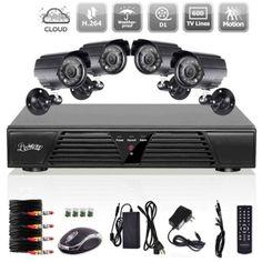 Liview 4-Channel Full D1 Waterproof P2P DVR Kit with 4pcs Color CMOS 600TVL Bullet Cameras Black