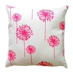 This floral throw pillow cover features beautiful candy pink dandelions on a white background. It is 100% cotton, medium weight fabric. Designer fabric is used on both the front and the back. All inside seams are professionally serged to prevent fraying and there is a hidden zipper at the bottom of the cover to ensure a clean, tailored look. Please choose your size at checkout.  **NOTE** This listing is for the pillow cover ONLY. If you would like an insert included, please add my Pillow…