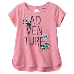 Toddler Girl Jumping Beans® Graphic Patches Cutout Tee, Size: 3T, Med Pink