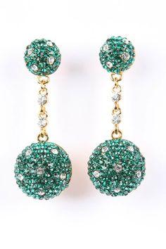 Emerald Green Ball Earrings