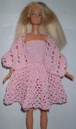 pink lacy dress and shawl #Barbie #crochet