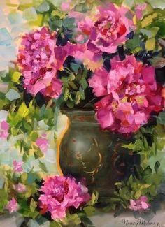 Pink Dusk Peonies by Nancy Medina Oil ~ 16 x 12