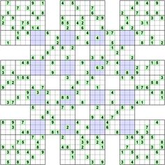Number logic puzzle 8962 Type: Sudoku, Rectangular Blocks.  Size: 9.   Overlap variant  Sumo.