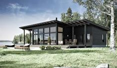 🌟Tante S!fr@ loves this📌🌟 Modern Small House Design, Modern Barn House, Tiny House Design, Modern Log Cabins, House Roof, My House, Black House Exterior, House In The Woods, Future House