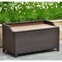 International Caravan Barcelona 40 in. Resin Wicker 60 Gallon Storage Deck Box with Faux Wood Top > Dimensions: x x inches Beautiful alfresco storage trunk/coffee tale Crafted with premium resin wicker material Patio Storage Bench, Wooden Storage Bench, Patio Bench, Bench With Storage, Outdoor Storage, Storage Trunk, Outdoor Benches, Garage Storage, Outdoor Spaces