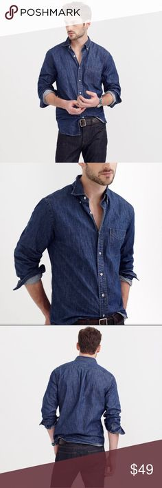 J. CREW SLIM MIDWEIGHT DENIM SHIRT INDIGO BLUE Slim fit, cut more narrowly through the body and sleeves. Overall Fit based on user reviews  runs small true to size runs large PRODUCT DETAILS The forev
