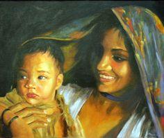 Mujer con niño 2 055x046 Óleo sobre Lienzo