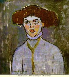 Amedeo Modigliani. Head of a Young Woman. Olga's Gallery.