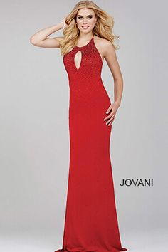 Red Sleeveless Halter Jersey Prom Dress 31893
