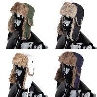 Envío gratis Mens Warmer mujeres Unisex invierno cálido viento trampero del bombardero Aviator Trooper orejeras de piel sintética de esquí del casquillo del sombrero