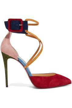 Christian Louboutin | Suzanna 100 color-block suede pumps | NET-A-PORTER