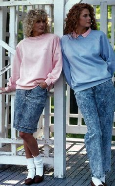 Christopher Salmon: Women's Casual Day wear 80s: The light pastel colored sweaters and acid wash denim embody the casual trends of the 80s. This particular picture represents the slightly more controlled and almost business like casual wear. Big curly hair and cropped pants showing white socks is also an 80s trend.