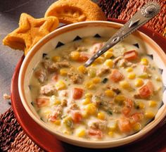 tex-mex cream of chicken soup:  total prep time30 minutes; less than 400 calories