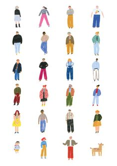 People illustration by Marianna Coppo People Illustration, Book Illustration, Character Illustration, Doodle People, People Cutout, Architecture People, Painting People, Graphic, Embroidery Patterns