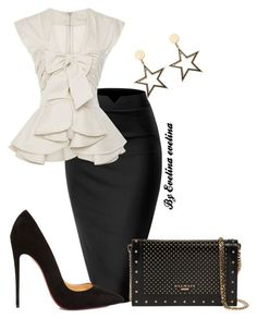 A fashion look from February 2018 featuring WithChic blouses, Christian Louboutin pumps and Balmain clutches. Browse and shop related looks. Dressy Outfits, Mode Outfits, Jw Mode, Elegantes Outfit, Professional Attire, Business Outfits, Work Fashion, Dress To Impress, Womens Fashion