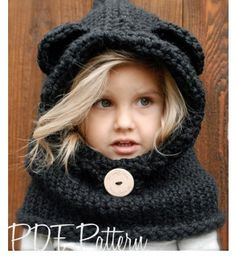 This is too cute for words!   Knitting PATTERN-The Burton Bear Cowl (6/9 month - 12/18 month - Toddler - Child - Adult sizes)