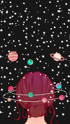 iphone wallpaper for girls galaxy wallpaper iphone, cartoon image of a girl with red hair in a bun, surrounded by planets and stars, black background Planets Wallpaper, Wallpaper Space, Cute Wallpaper Backgrounds, Wallpaper Iphone Cute, Aesthetic Iphone Wallpaper, Wallpaper For Girls, Wallpaper Quotes, Cool Wallpapers For Girls, Cute Galaxy Wallpaper