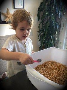 fine moter skills,  Preschool/toddler.  Find quarters in popcorn kernels with tweezers.