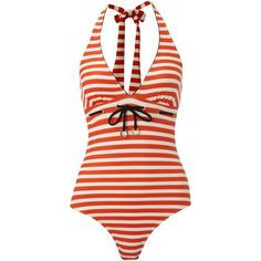 Ted Baker Nautical stripe halterneck swimsuit (200 RON) ❤ liked on Polyvore featuring swimwear, one-piece swimsuits, swimsuits, bathing suits, bikini, swim suits, orange, halter top, halter neck bikini and swimsuits bikinis