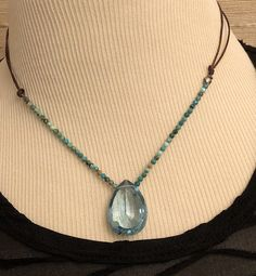 """17"""" Necklace with Faceted London Blue Quartz Pendant Strung on Variegated Turquoise Faceted Beads and Leather Cord by SuzanneImagines on Etsy London Blue, Quartz Stone, Turquoise Beads, Teardrop Earrings, Leather Cord, Green And Grey, Pendant Necklace, Sterling Silver, Etsy"""