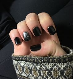 Black shellac nails with silver ombré accent nail inspired by a previous pin!