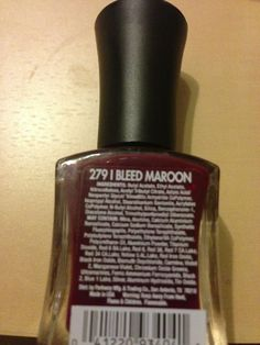 I Bleed Maroon nail polish color --Orchid brand. Lovely dark maroon...oxblood that's so popular this fall. Orchid is only available at HEB stores.