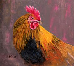 Going Fast!  #RoosterArt palette knife oil painting realistic barn animal by Artist DGPhelps #Realism