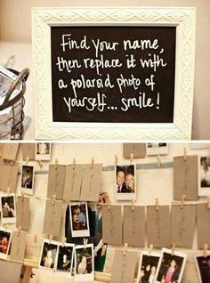 Polaroid guest sign in - this is great! Fun for the guest and a great keep sake for the hostess.   You could also make this into a social media wall for guest check and photo sharing!