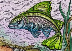 Zentangle influenced aceo's by Karen Ann Brady - love this 'salmon' the colours are great!