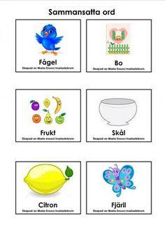 Mariaslekrum - Sammansatta ord Learn Swedish, Swedish Language, Educational Activities For Kids, Learning Letters, Kids And Parenting, Literacy, Homeschool, Back To School, Math