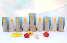 How-To: Menorah From Toilet Paper Tubes from Sara at Creative Jewish Mom
