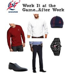 What to wear from the #office to the #Washington #Wizards #basketball game. #men #fashion #style #sportsfans #professional #oxford #shirt #watch #sweater #pants #hat #navy #red #sportsfan #NBA #work