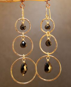 Siren 159 Hammered circles with black spinel by CalicoJunoJewelry, $102.00