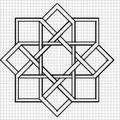 drawing of a plaiting-work design. knotwork designs for blackwork Blackwork Patterns, Zentangle Patterns, Cross Stitch Patterns, Quilt Patterns, Graph Paper Drawings, Graph Paper Art, Geometric Drawing, Geometric Art, Islamic Art Pattern