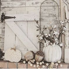 Missing my old house right now. I loved decorating the mantle there for holidays! This little pumpkin from @michaelsstores stuffed with cotton stems, was my favorite, easiest project last year. I'm getting in to fall mode a little bit now, and can't wait to see where all my stuff ends up at this house.