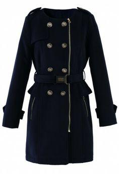 Navy Peplum Coat