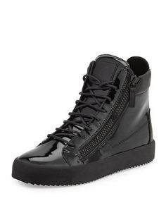 Giuseppe+Zanotti+Men's+Patent+High+Top+Sneakers+|+Shoes+and+Footwear