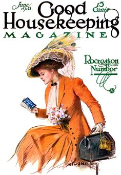 "Good Housekeeping, June 1910. Woman dressed in wonderful orange suit holds overnight bag and examines a railroad schedule, for the ""Recreation Number.""  Artist: R. Ford Harper. ""The only way to be sure of catching a train is to miss the one before it."" --Gilbert K. Chesterton"