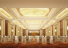Five-star hotel banquet hall with carpet