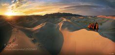 Sunrise at Gobi desert Khongoryn Els Mongolia.