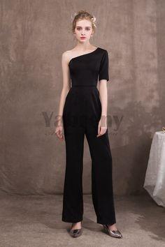 13b6eec0957 New arrival Women Black One Shoulder Prom dressy Jumpsuit so-044 Wedding  Pantsuit