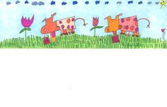 JennyLU Giclee 5x12 Art Print 'Cows & Tulips' Animal by JennyLU, $25.00