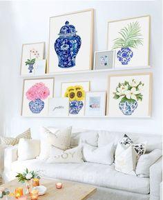 Blue and White China DIGITAL FILE Magnolia Hydrangea print | Etsy Blue And White Vase, White Vases, White Art, Chinoiserie Elegante, Art Mural, Wall Art, Design Tisch, Trending Art, Ginger Jars