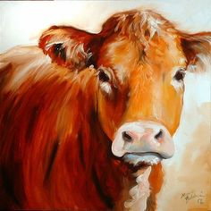 Cow Paintings On Canvas | cow is an original oil painting by m baldwin c2006 one cow canvas size ...