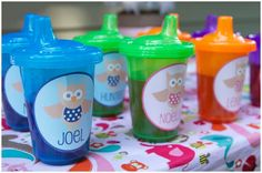 Every child gets their own sippy, the disposable ones are cheap! Make labels. CUTE take home gift!