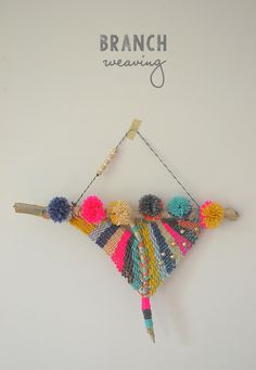 Make a beautiful weaving from an ordinary branch with yarn and beads.