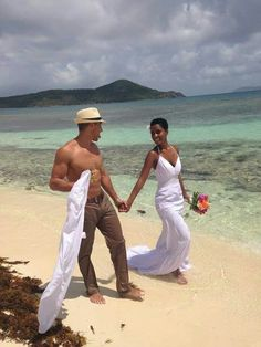 They are too cute together. #wmbw. Interracial couple.  Interracial love. Wedding on the beach.