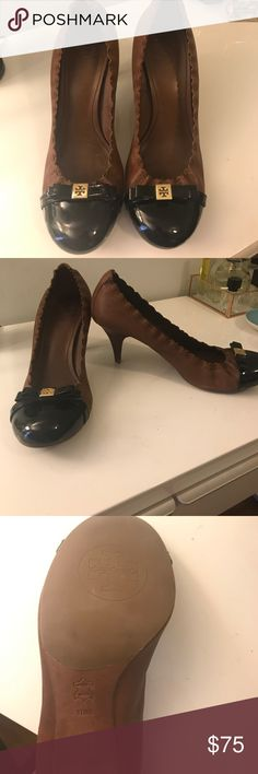Tory Burch Leather Heels Awesome cognac leather and black patent toe Tory Burch heels. About a 3inch heel. Super comfy and hardly worn (see photo of soles!) Tory Burch Shoes Heels
