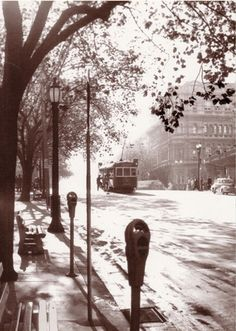 Paris end of Collins Street Melbourne Victoria Australia 1958 - Mark Strizic I worked opposite the town hall. Australia Photos, Australia Day, Victoria Australia, Melbourne Australia, Australia Travel, Art And Illustration, Melbourne Tram, Airlie Beach, Land Of Oz